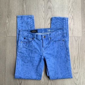 J. Crew In Garment Printed Toothpick Ankle Jeans